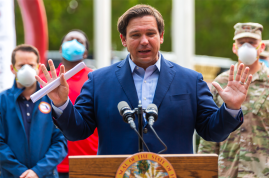 Ron Desantis, Florida's Governor, speaking at a COVID-19 press conference in the state of Florida in April 2020. Source: Shutterstock.com